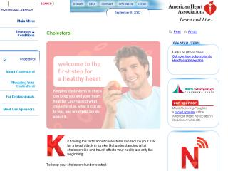 American Heart Association's Redesigned Cholesterol Web site image