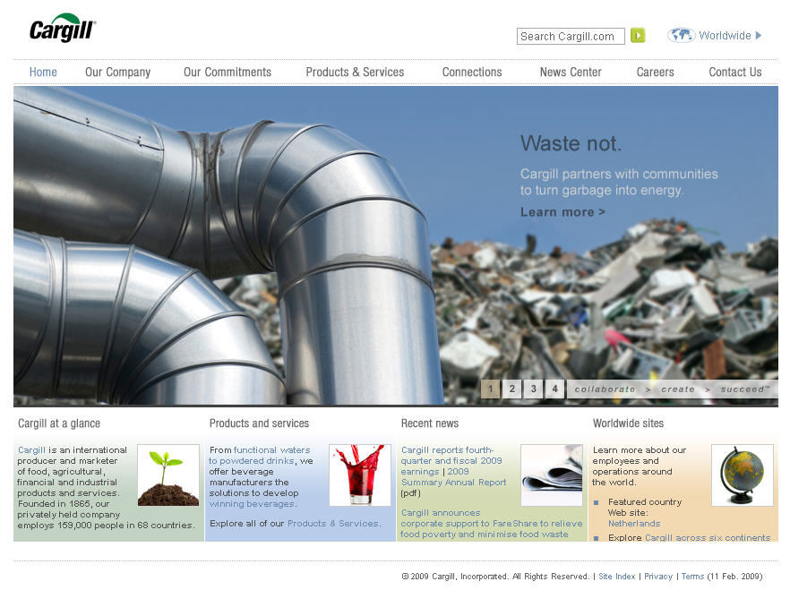 Cargill Corporate Information  Web Site image