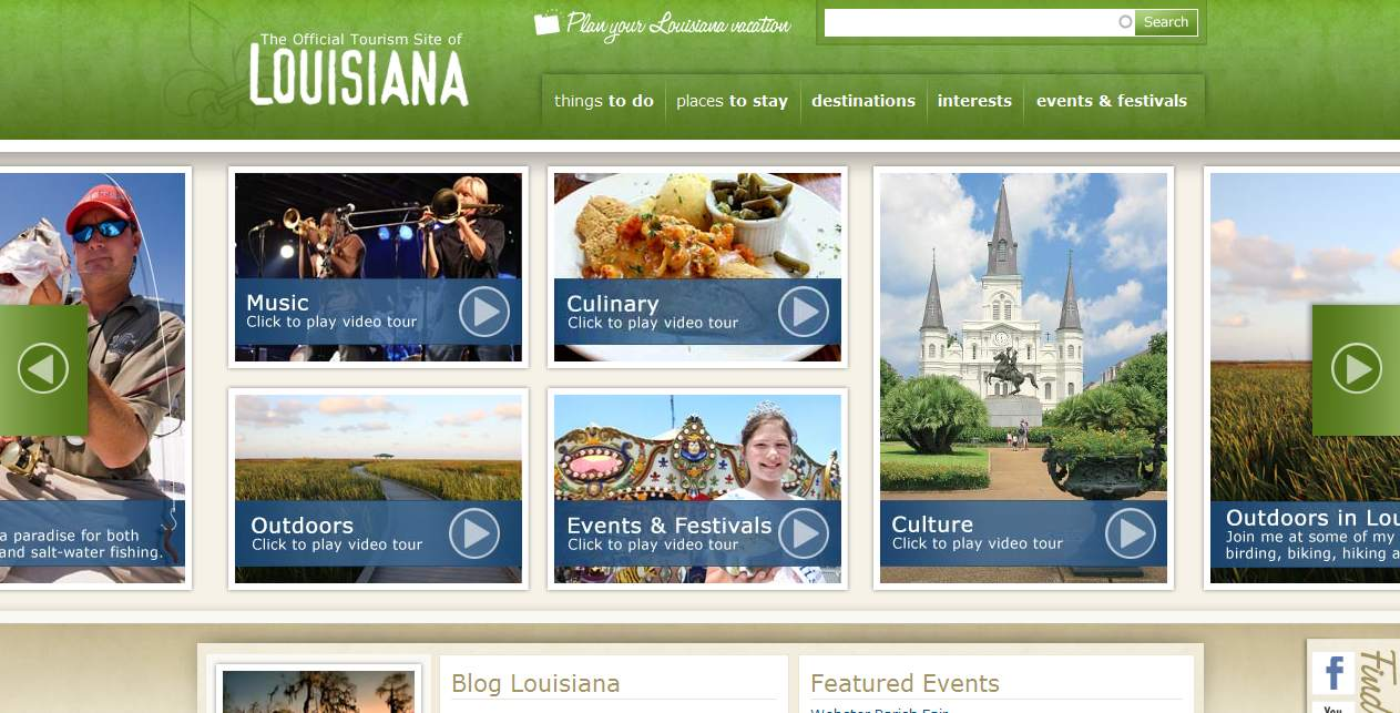 Louisiana Travel and Tourism Website image