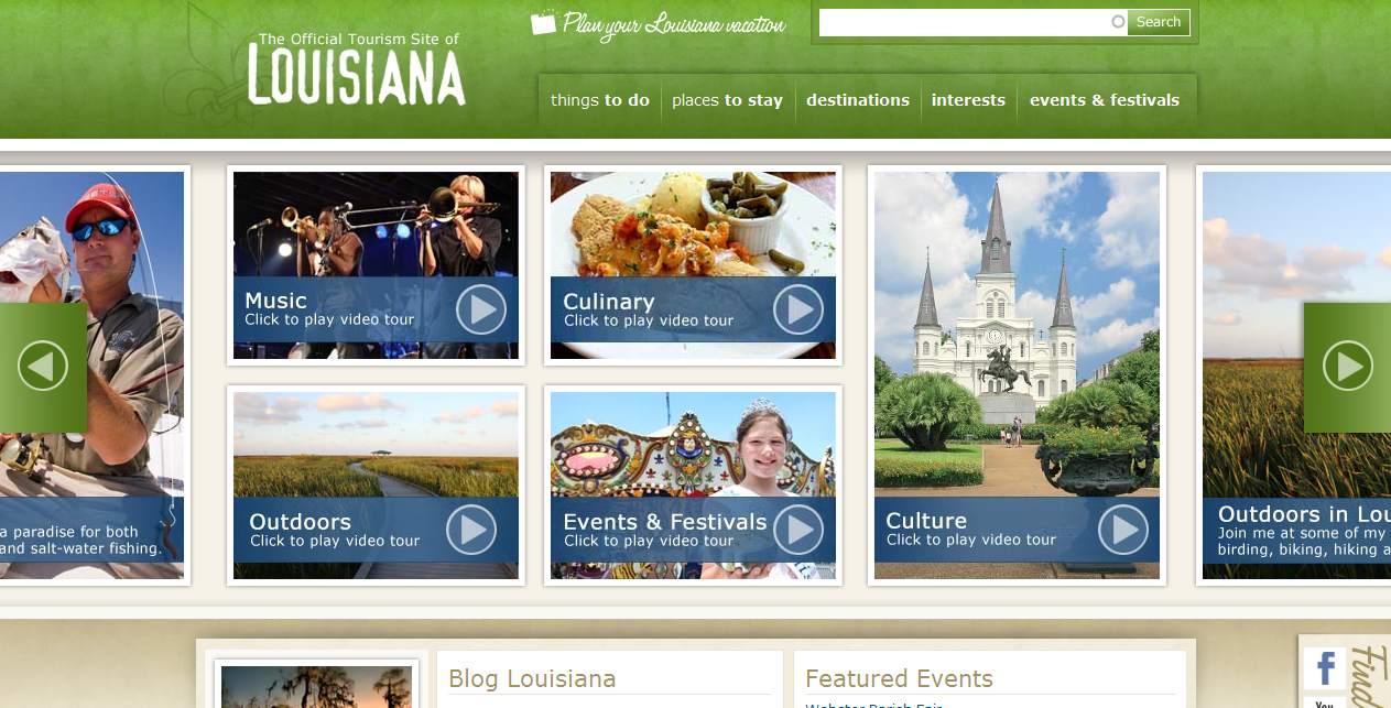 Louisiana Travel and Tourism Website image