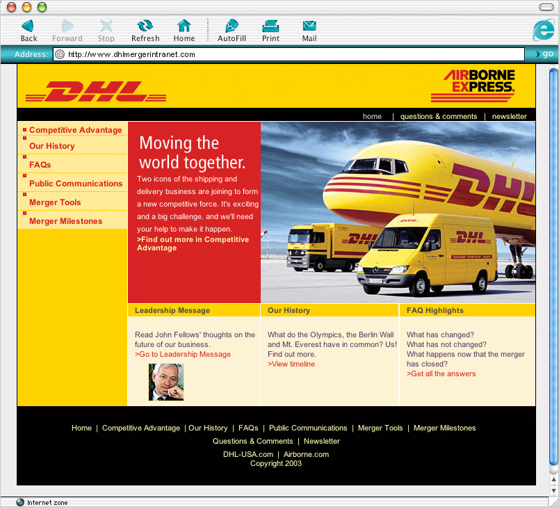DHL Merger Intranet image