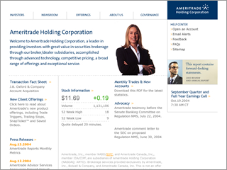 Ameritrade Holding Corporation Web Site image