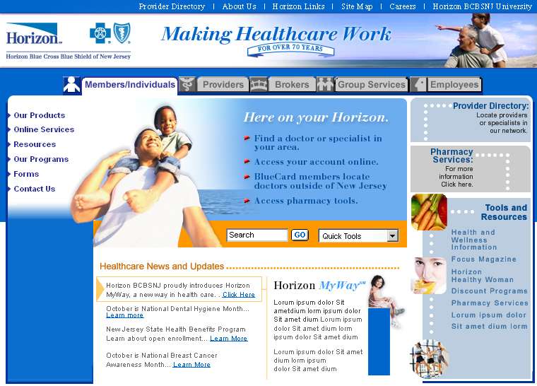 Horizon Blue Cross Blue Shield of New Jersey Website image