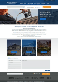 Punum Roofing of Houston Website image