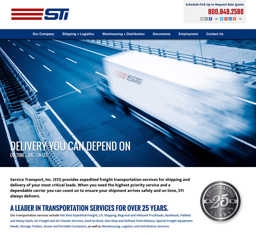 Service Transport Inc. (STI) Website image