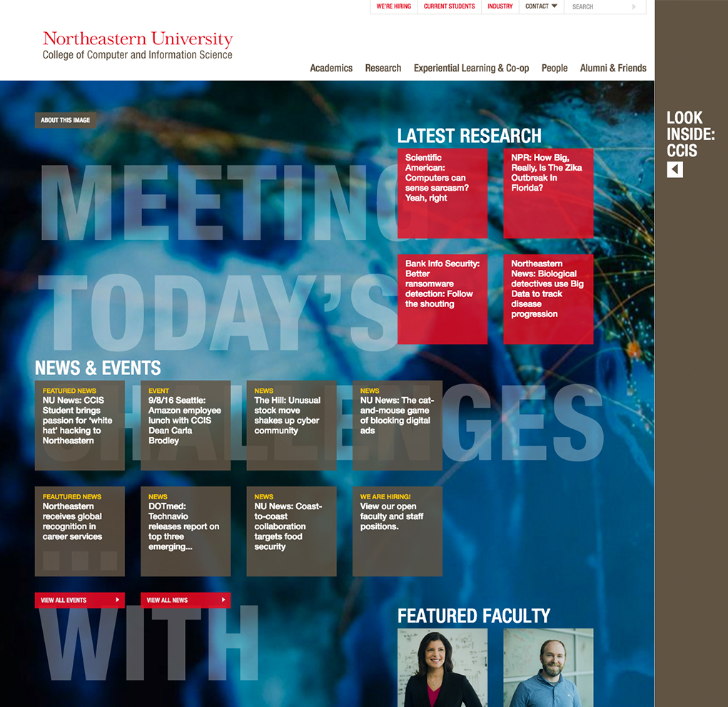 College of Computer and Information Science at Northeastern University website image