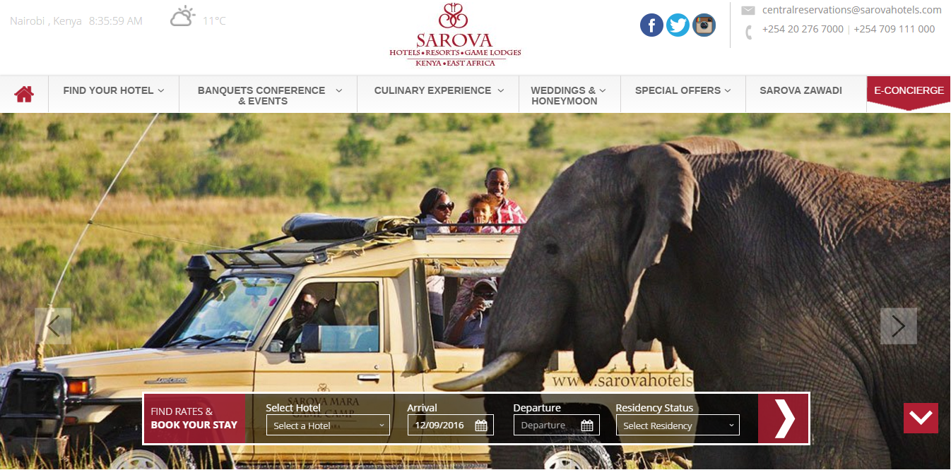 Sarova Hotels Website image