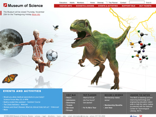 Museum of Science, Boston Web site image