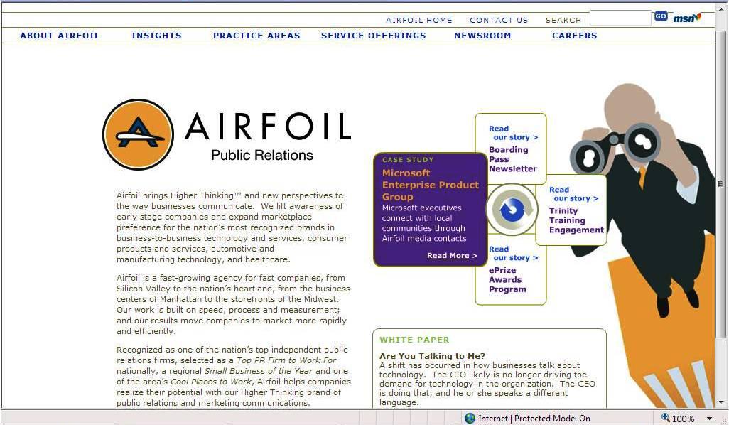 Airfoil Public Relations Website image