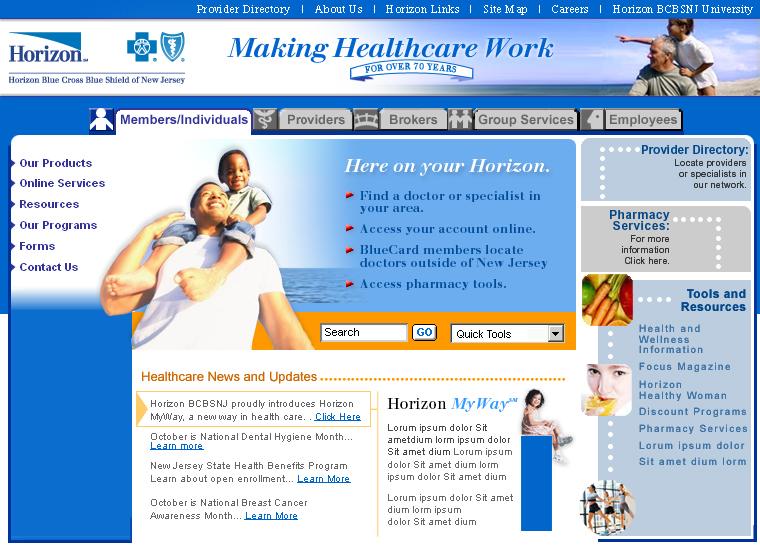 Horizon Blue Cross Blue Shield of New Jersey Website image