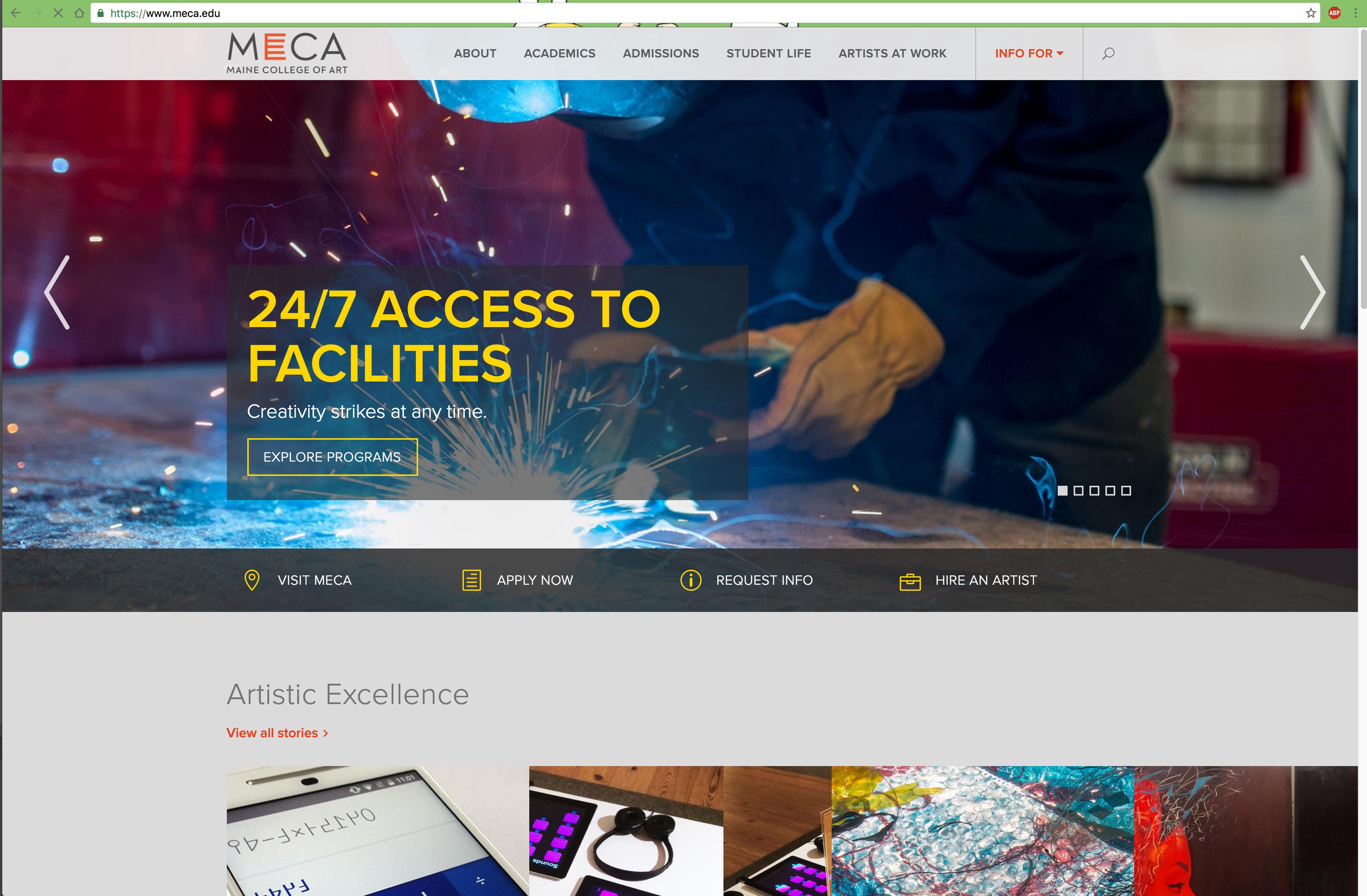 Maine College of Art Redesigned Website image