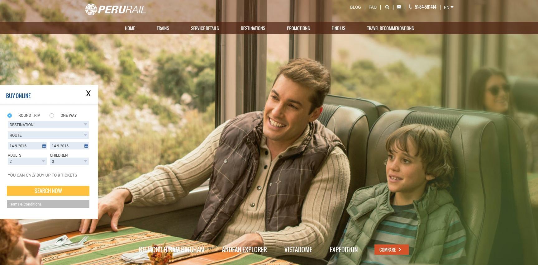 PeruRail Web Site image