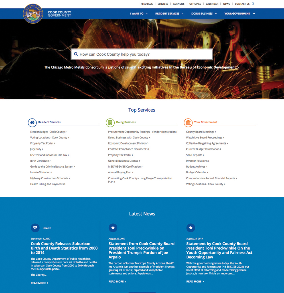 Cook County Website Implementation, Branding, and Governance  image