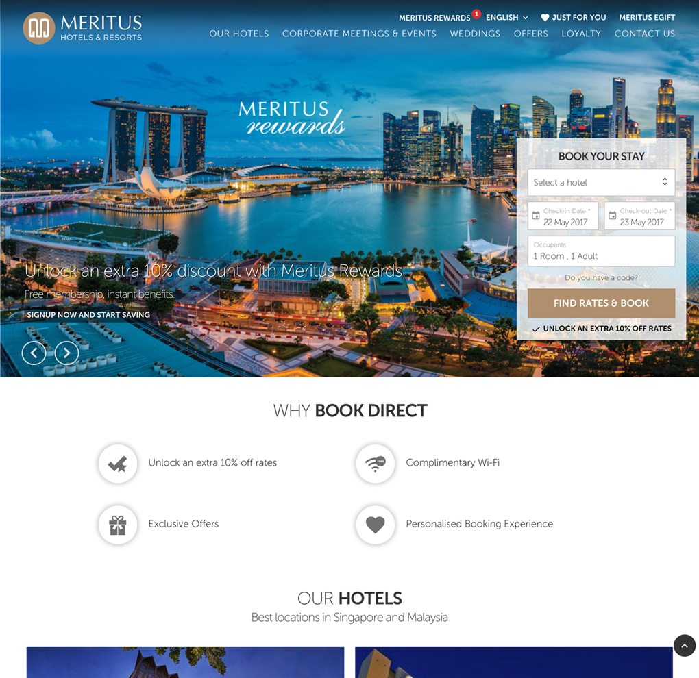 Meritus Hotels & Resorts Website image