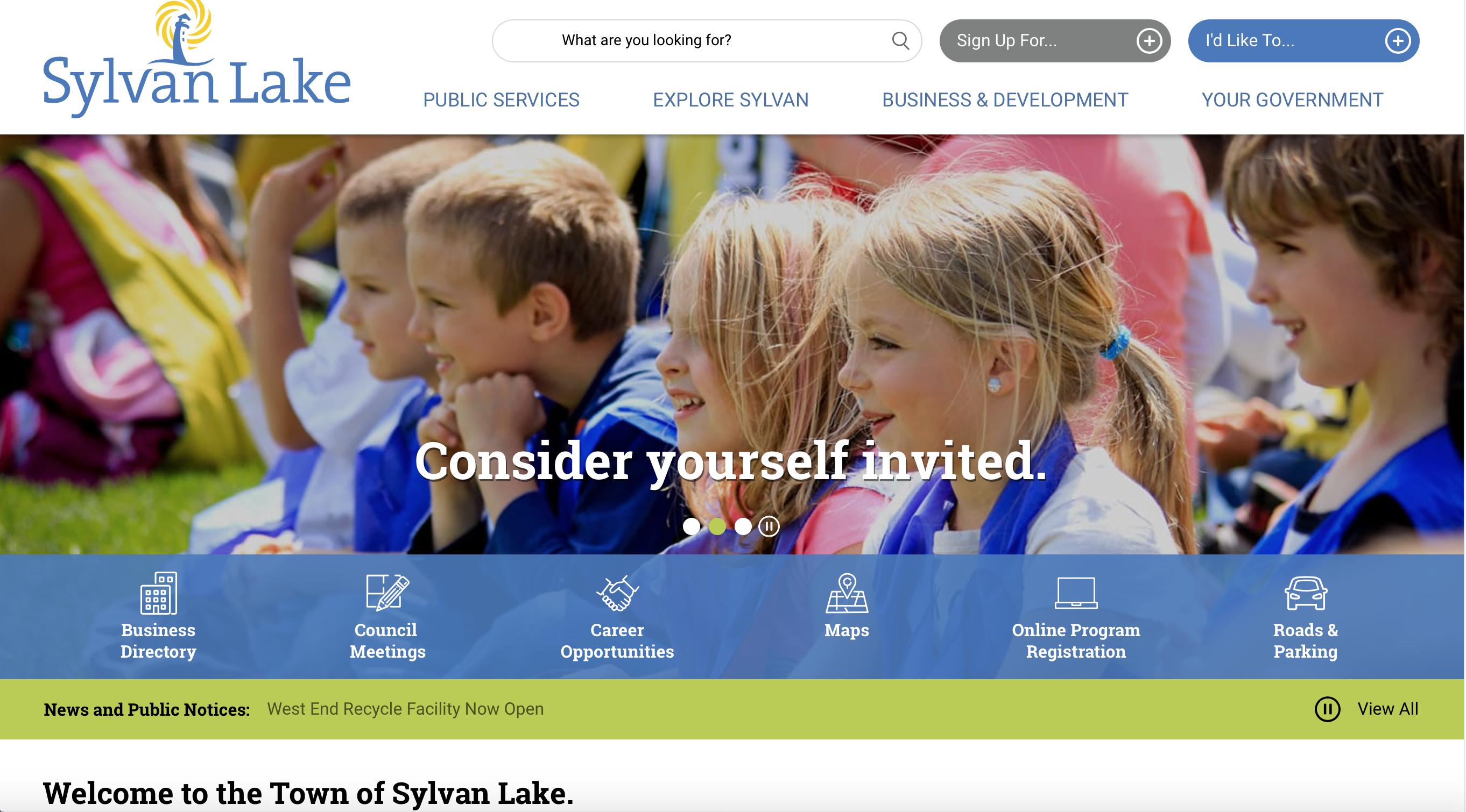 Town of Sylvan Lake Website image