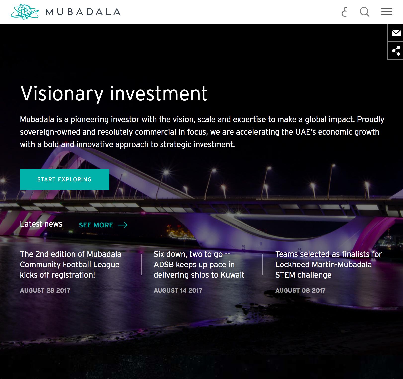 Mubadala Corporate Website image
