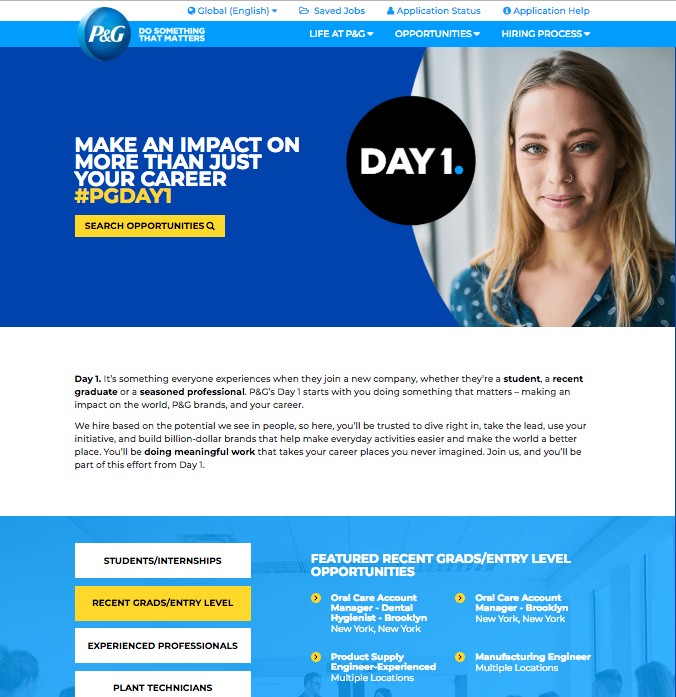 P&G Day 1 Career Site image