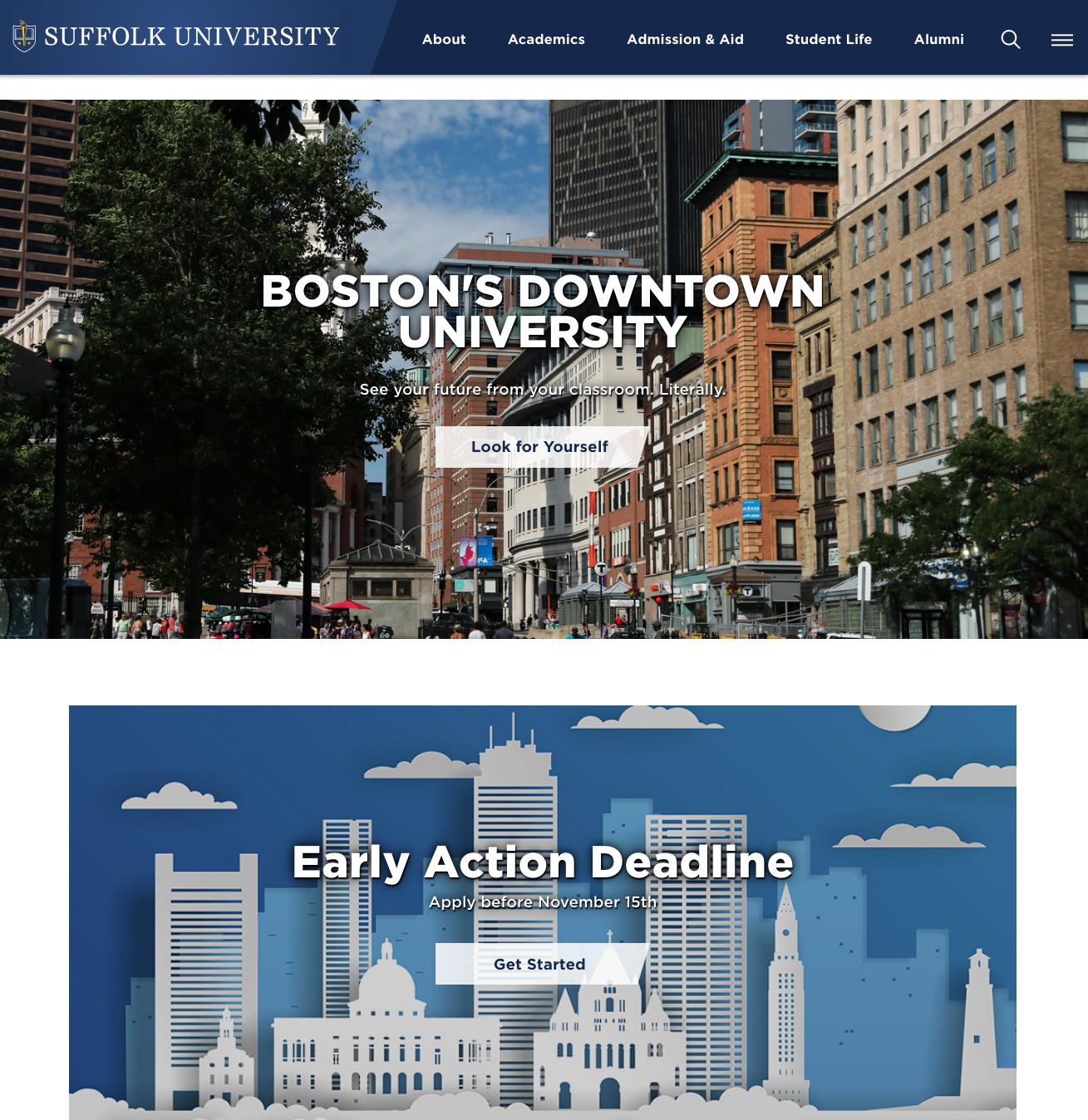 Suffolk University Website image