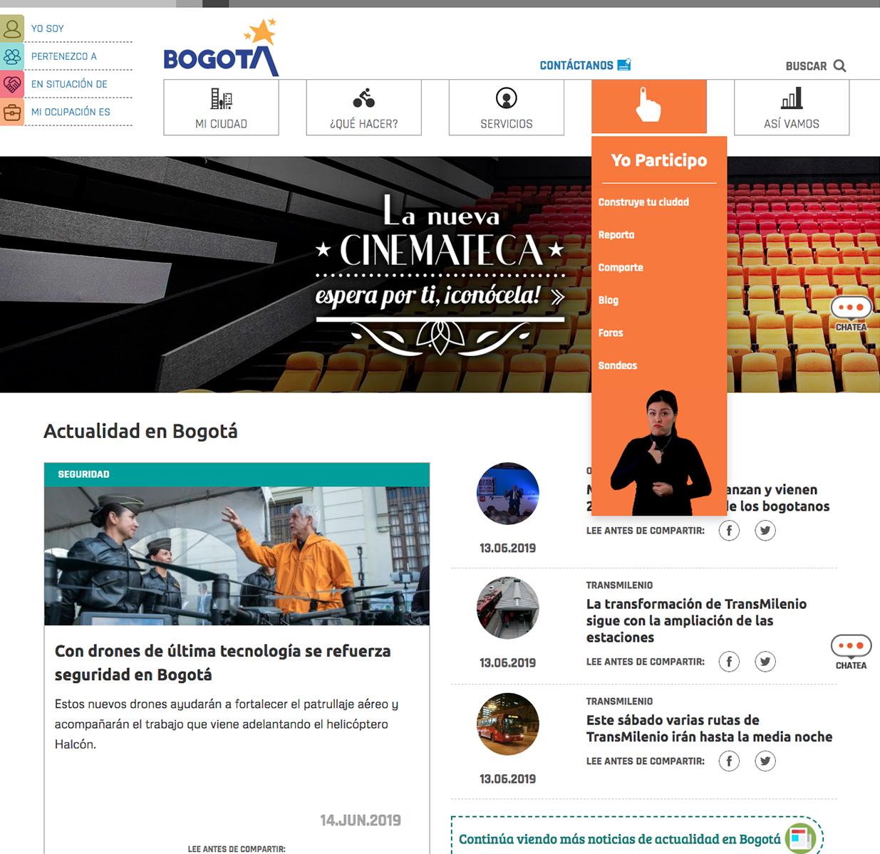 Bogota's city official website image