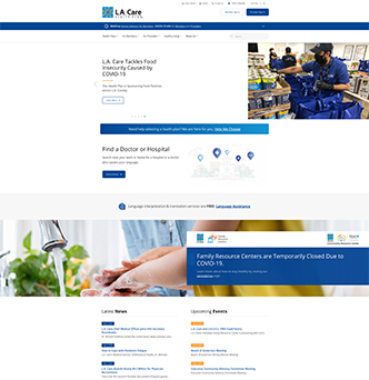 L.A. Care Health Plan Website image