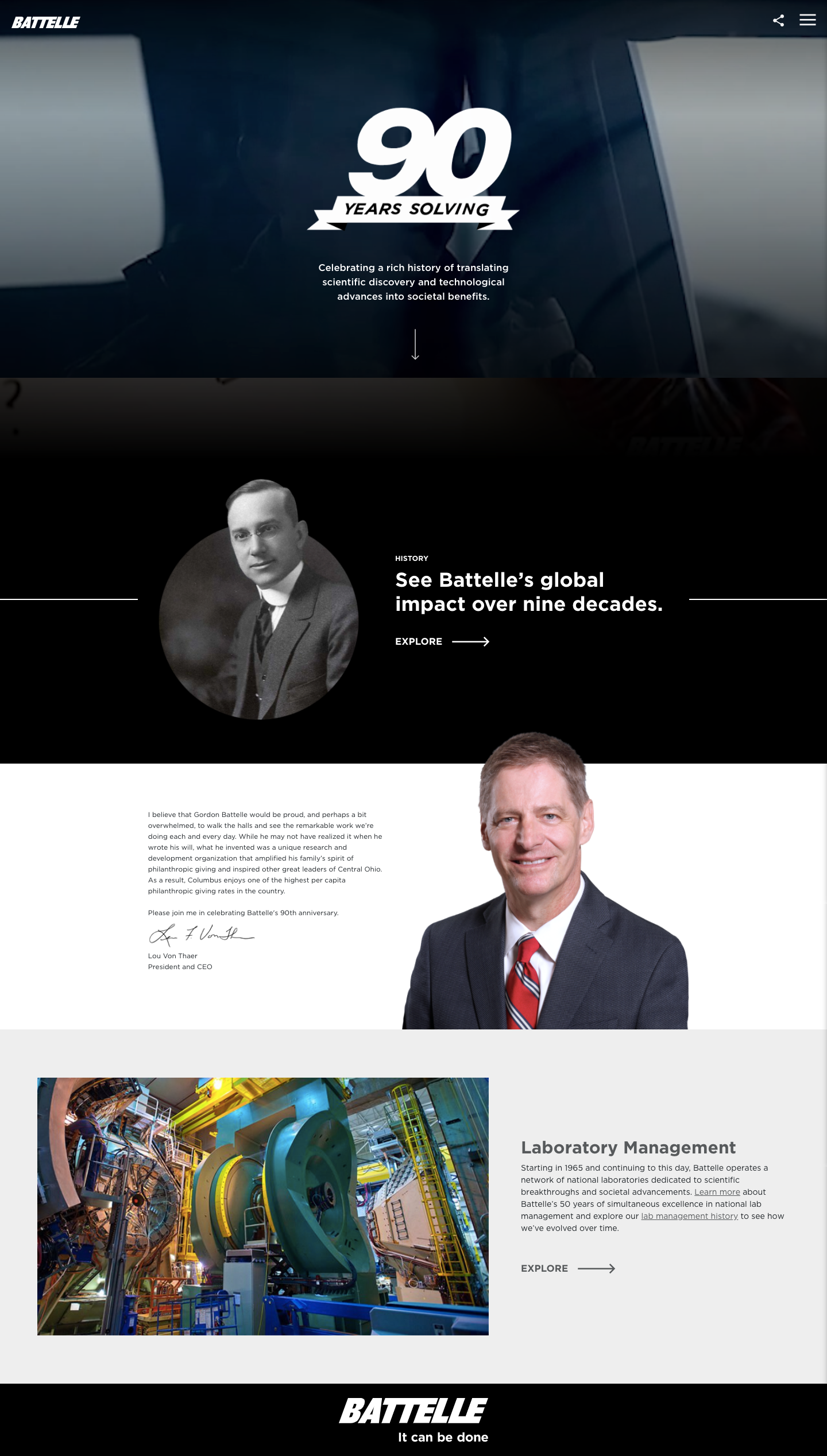 Battelle 90th Anniversary Microsite image