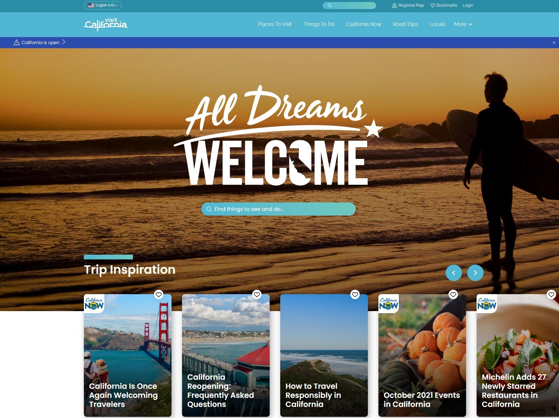 Visit California - Full Website Redesign