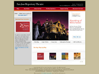 San Jose Repertory Theatre Web site - Redesign image