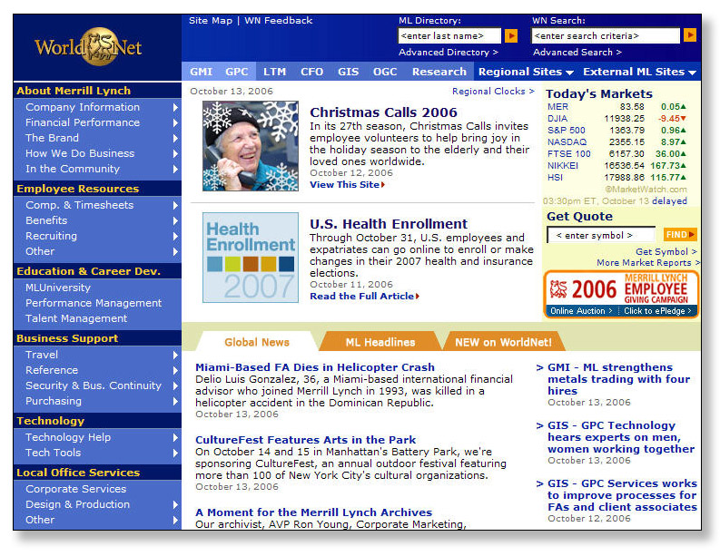 Merrill Lynch Intranet: WorldNet image
