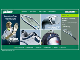 Prince Tennis Website image