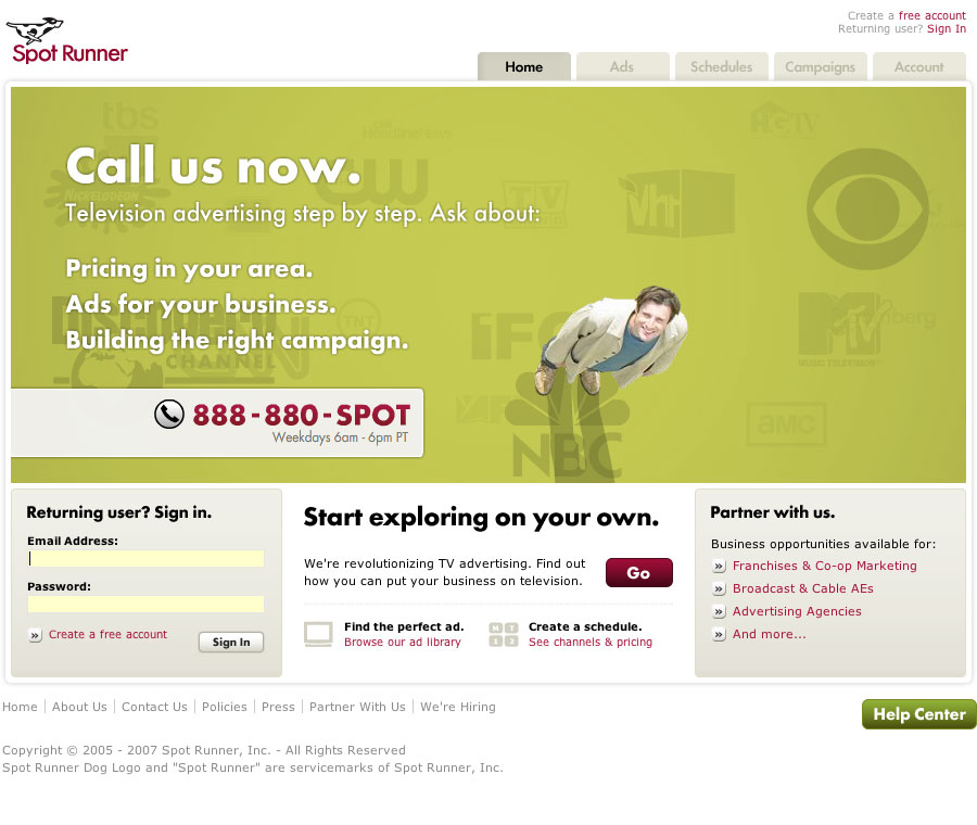 Spot Runner Website image